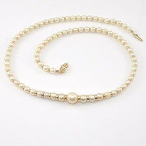 Vintage 14K Yellow Gold Pearl Bead Strand Necklace